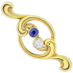 Faberge Sapphire Diamond Yellow Gold Brooch
