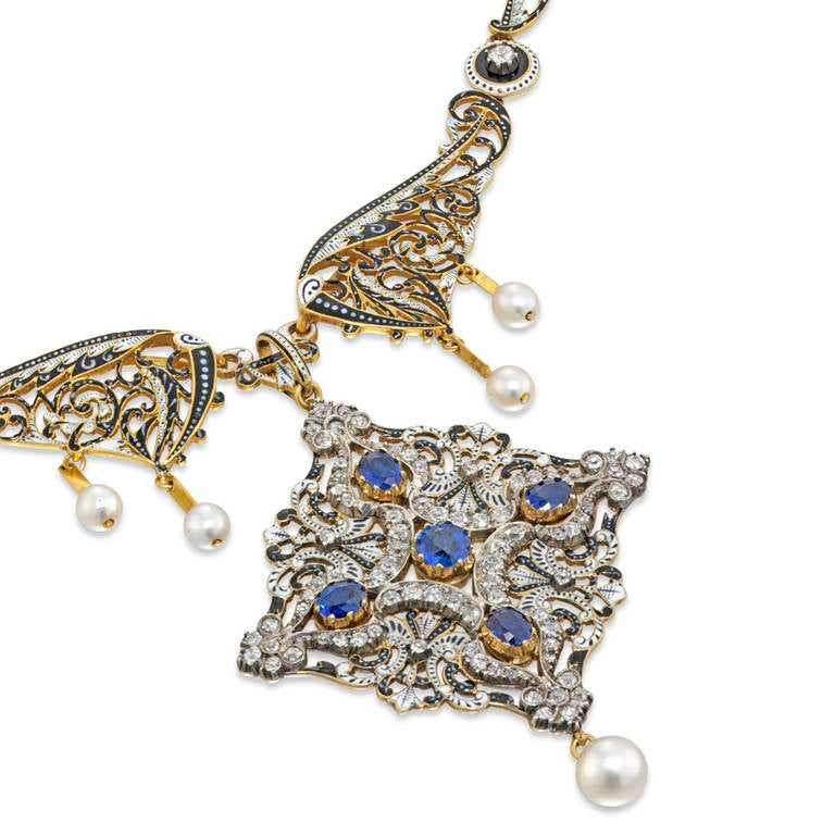 Victorian Important C. and A. Giuliano Enamel Sapphire Diamond Necklace For Sale
