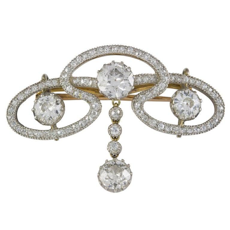 Edwardian Diamond Scroll Brooch For Sale