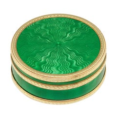 Faberge Circular Green Enamel Silver-Gilt Gold Pill Box