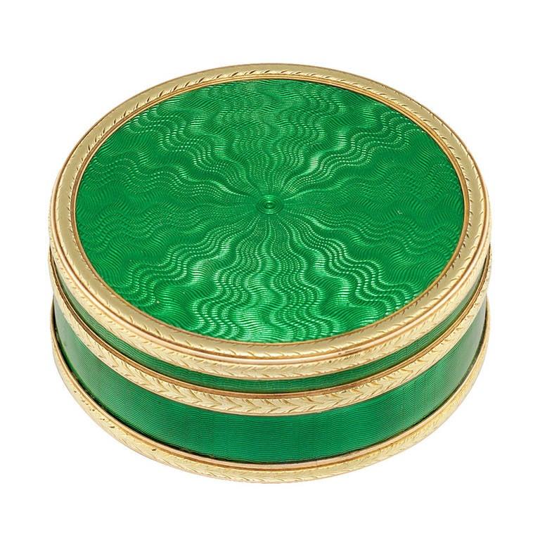 Faberge Circular Green Enamel Silver-Gilt Gold Pill Box For Sale