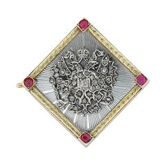 Faberge Enamel Ruby Diamond Gold Brooch