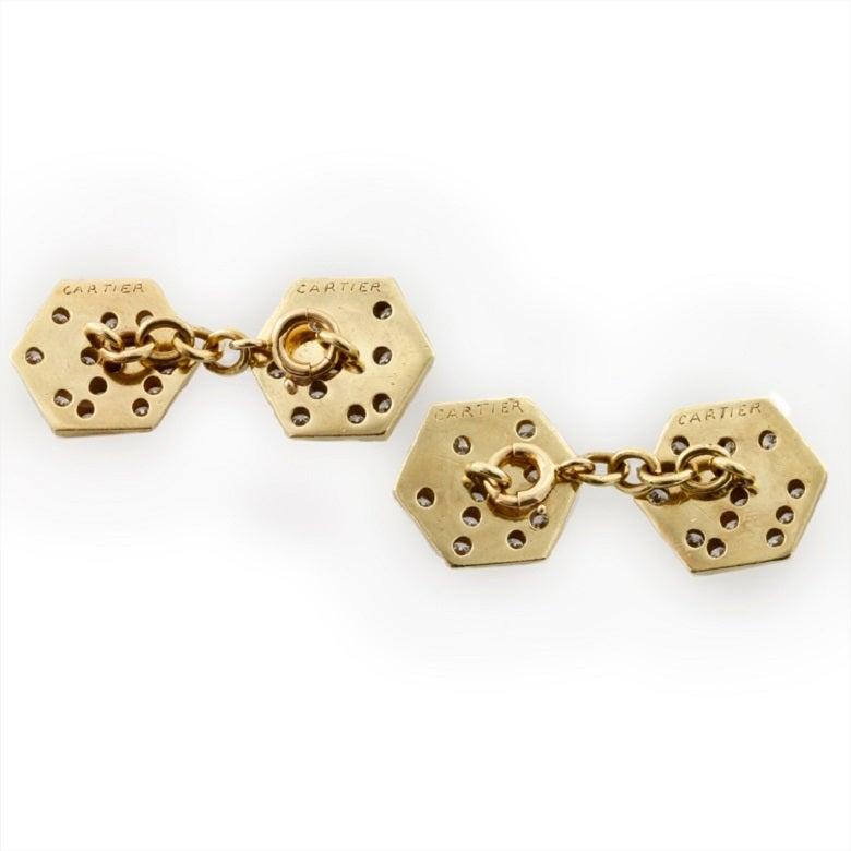 Retro Cartier Diamond Gold Dice Cufflinks For Sale