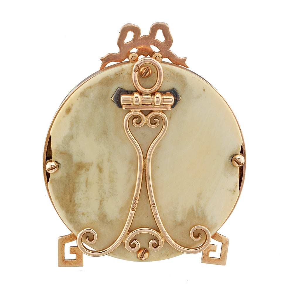 faberge yellow and rose gold miniature picture frame for sale at 1stdibs. Black Bedroom Furniture Sets. Home Design Ideas