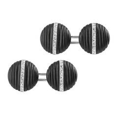 Pair of Onyx Diamond Cufflinks