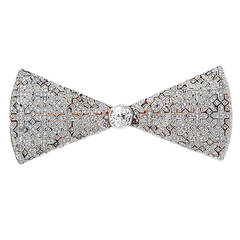 Faberge Diamond Gold Platinum Bow Brooch