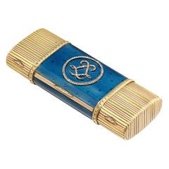 Faberge Blue Enamel Gold Vanity Case