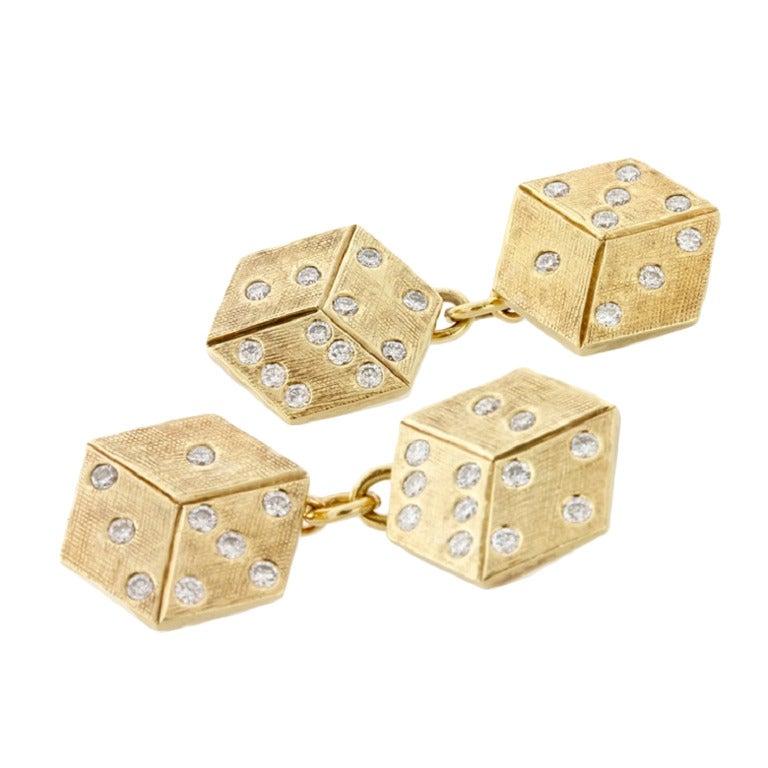 Cartier Diamond Gold Dice Cufflinks For Sale