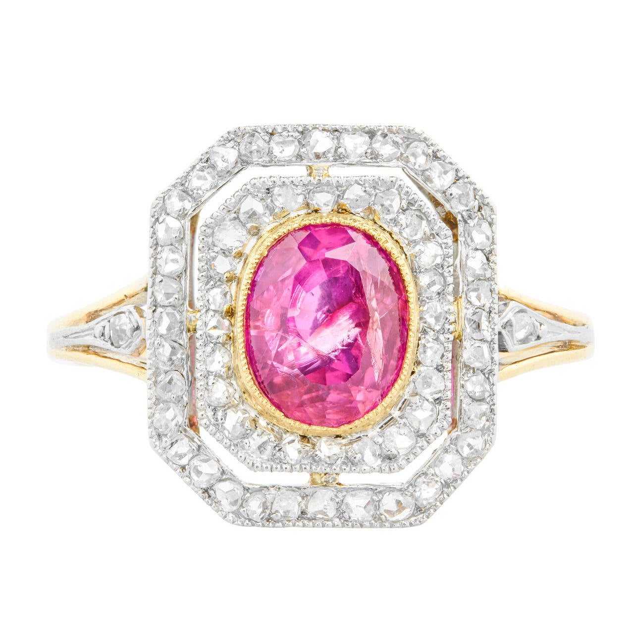 Ruby Diamond Gold Platinum Oval Tablet Cluster Ring For Sale