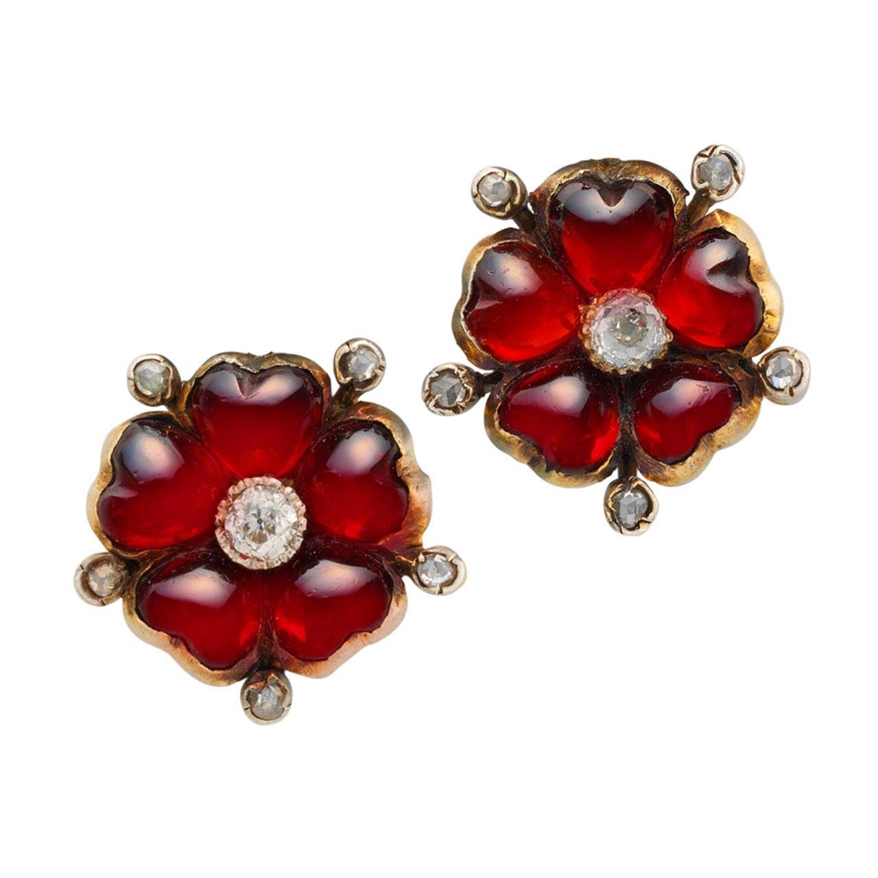 Victorian garnet diamond flower earrings at 1stdibs for Bentley and skinner jewelry