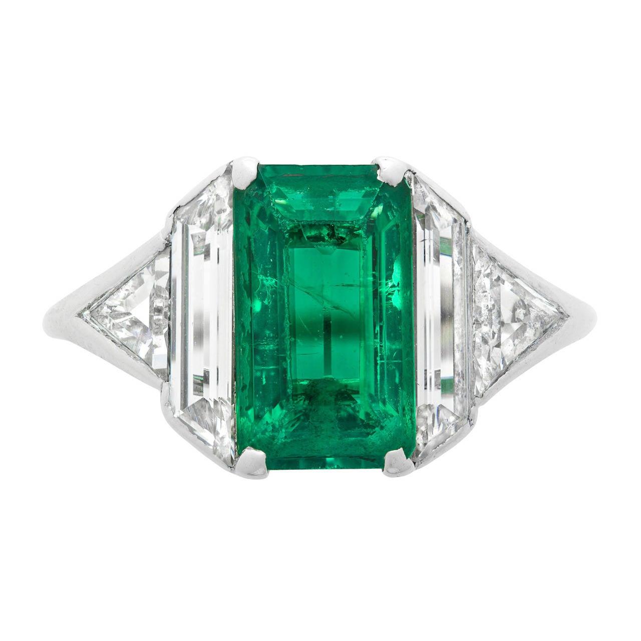 Art Deco Emerald Diamond Platinum Ring 1