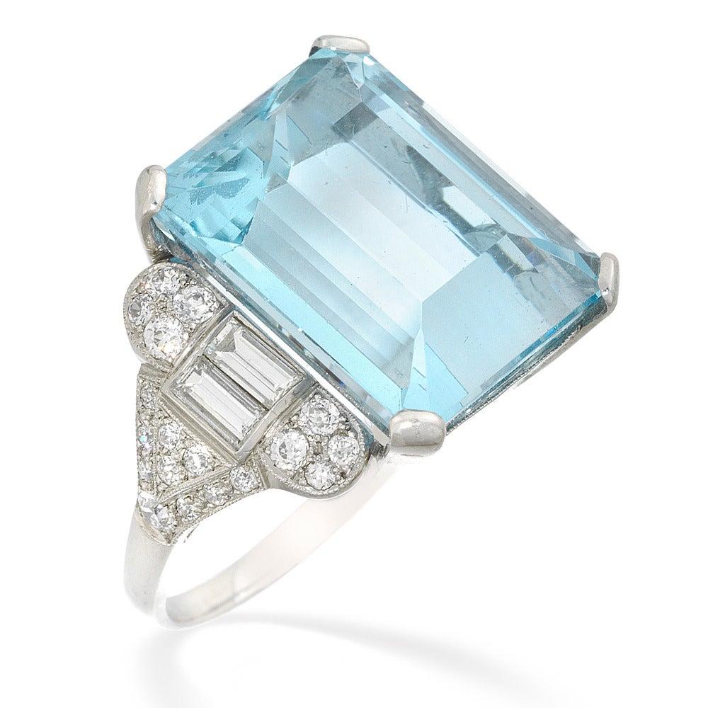 deco aquamarine platinum ring at 1stdibs