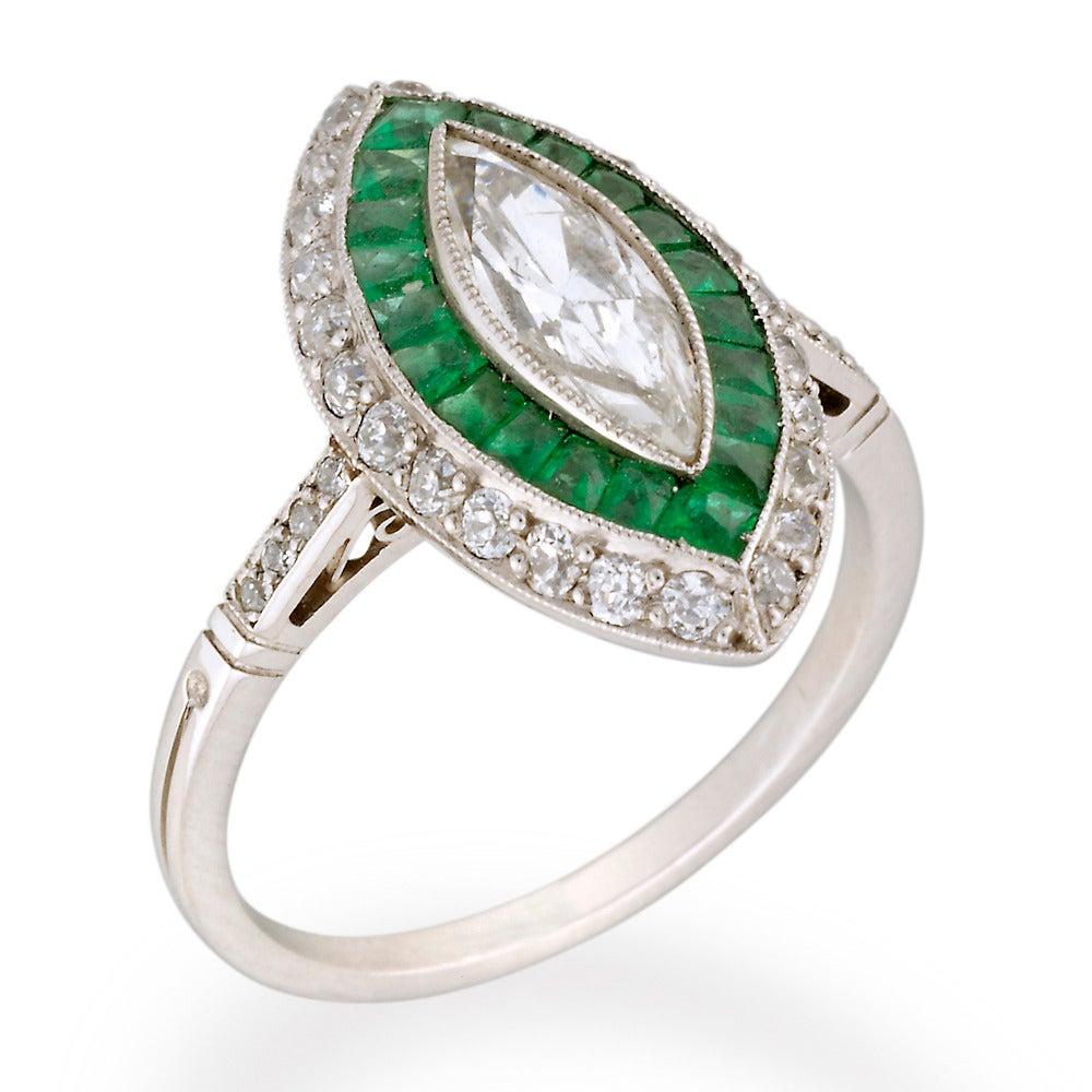 Fine Emerald Diamond Platinum Double Cluster Ring 2