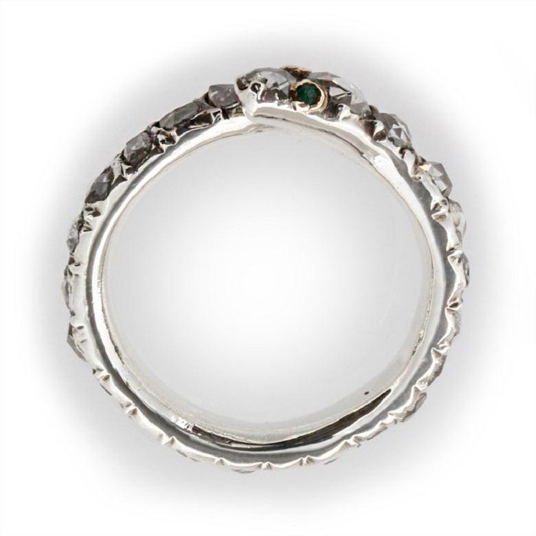 Fine Georgian Diamond-Set Snake Ring 2