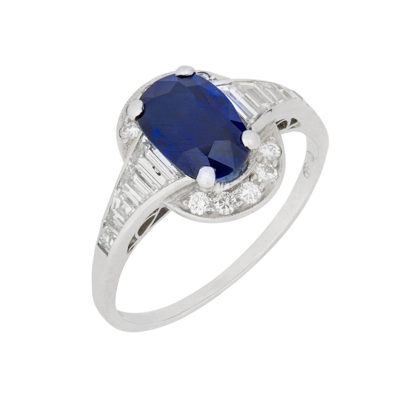 Art Deco Oval Sapphire Diamond Platinum Cluster Ring 2