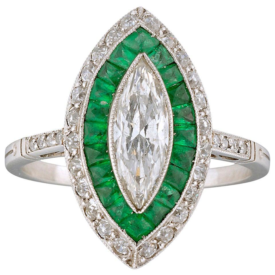 Fine Emerald Diamond Platinum Double Cluster Ring