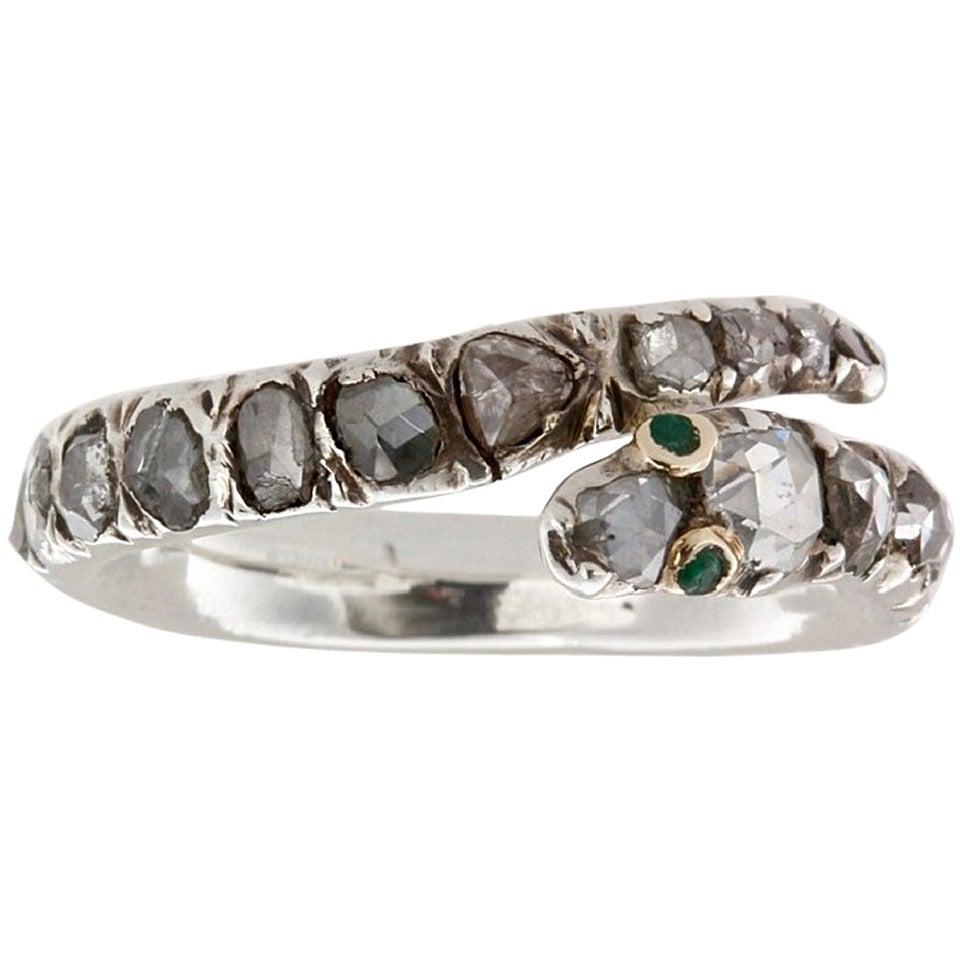 Fine Georgian Diamond-Set Snake Ring For Sale