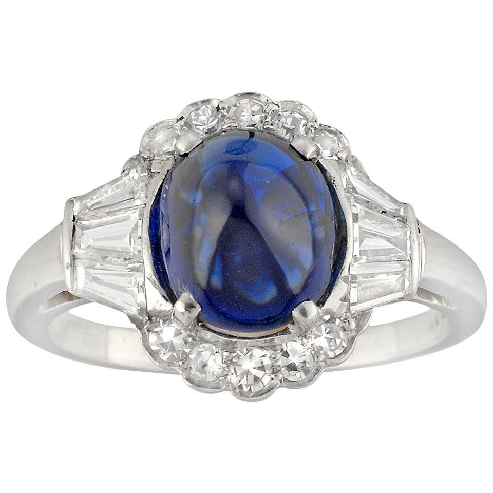 Art Deco Sugarloaf Sapphire Diamond Platinum Ring For Sale