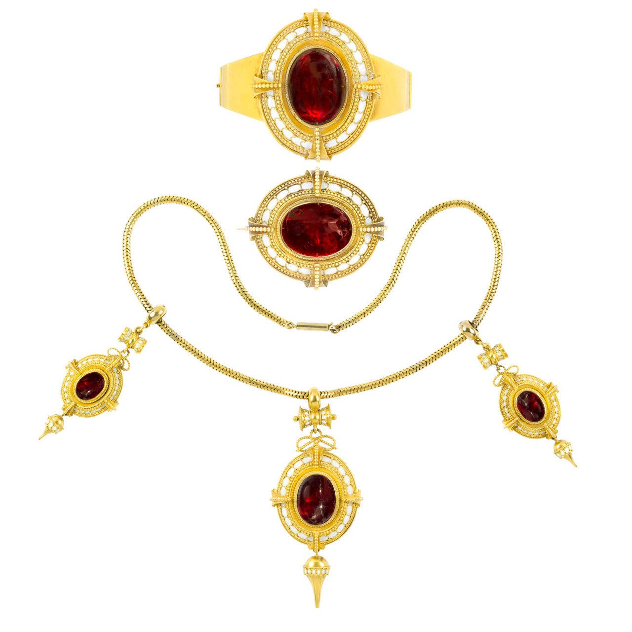 Fine mid victorian enamel garnet yellow gold suite at 1stdibs for Bentley and skinner jewelry