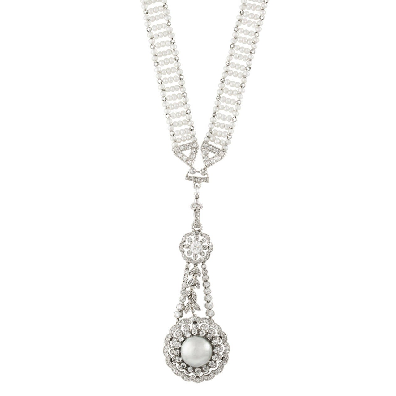 Belle Epoque Pearl Diamond Sautoir For Sale