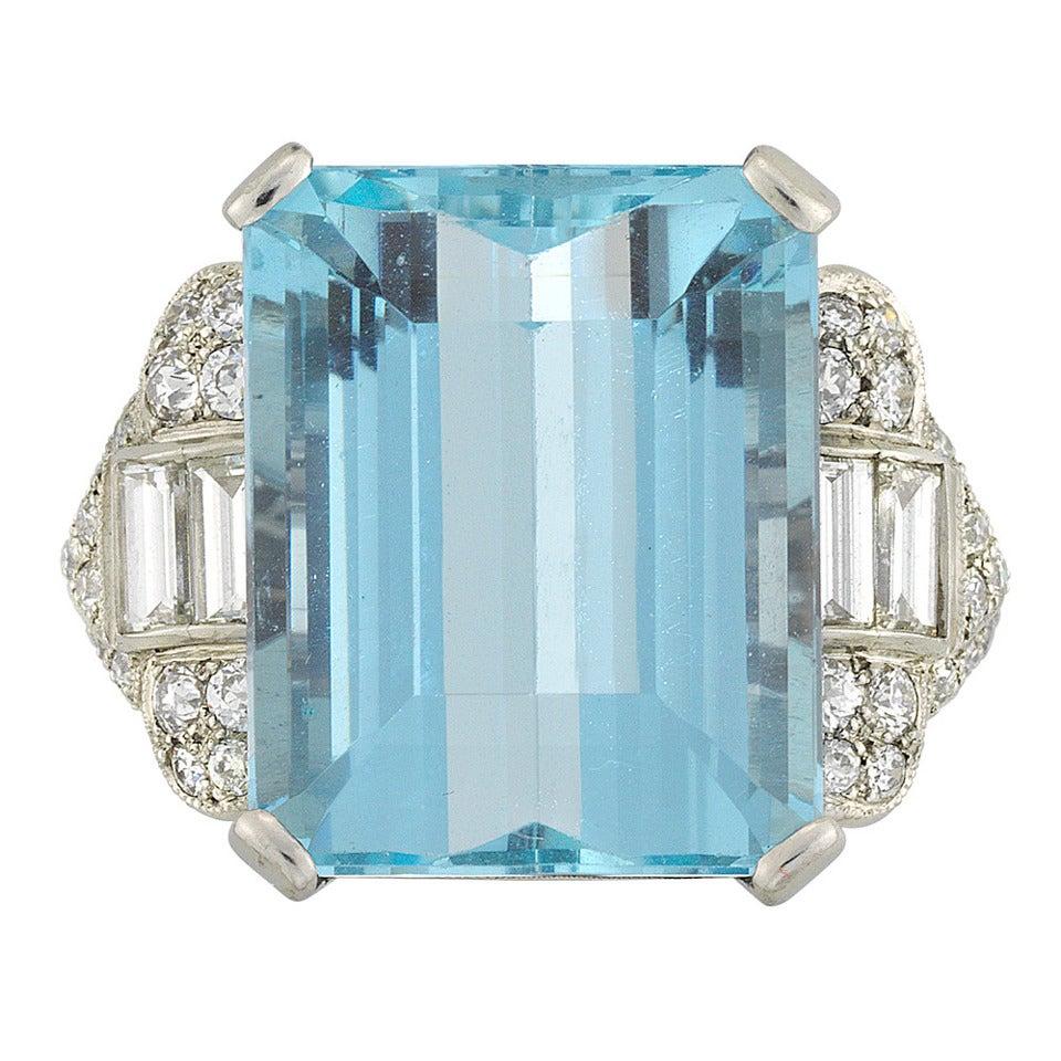 Art deco fine aquamarine diamond platinum ring at 1stdibs for Bentley and skinner jewelry