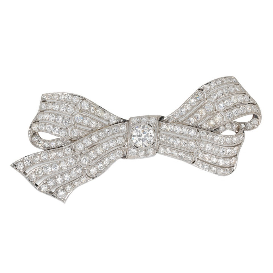 Diamond-Set Platinum Bow Brooch For Sale