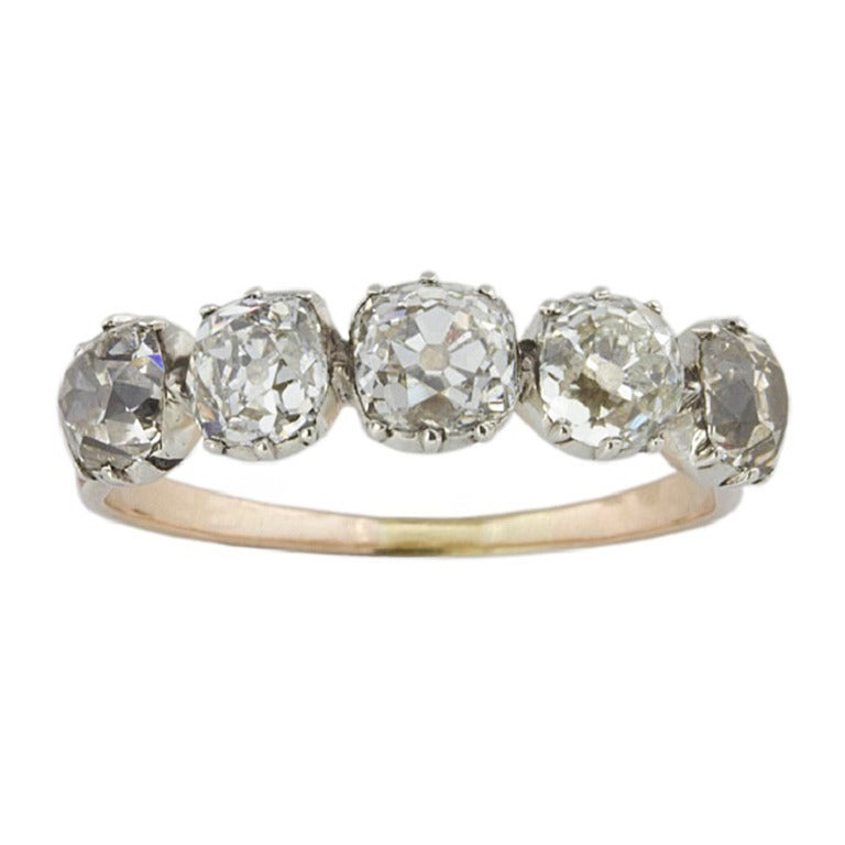 Georgian five diamond ring at 1stdibs for Bentley and skinner jewelry