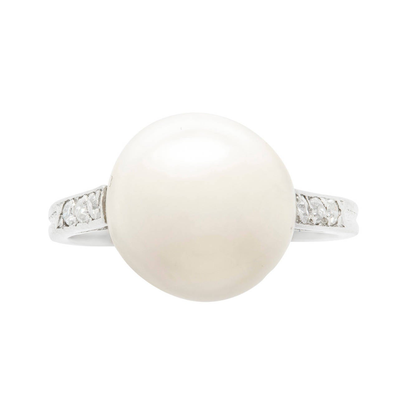 Natural Pearl Diamond Ring For Sale