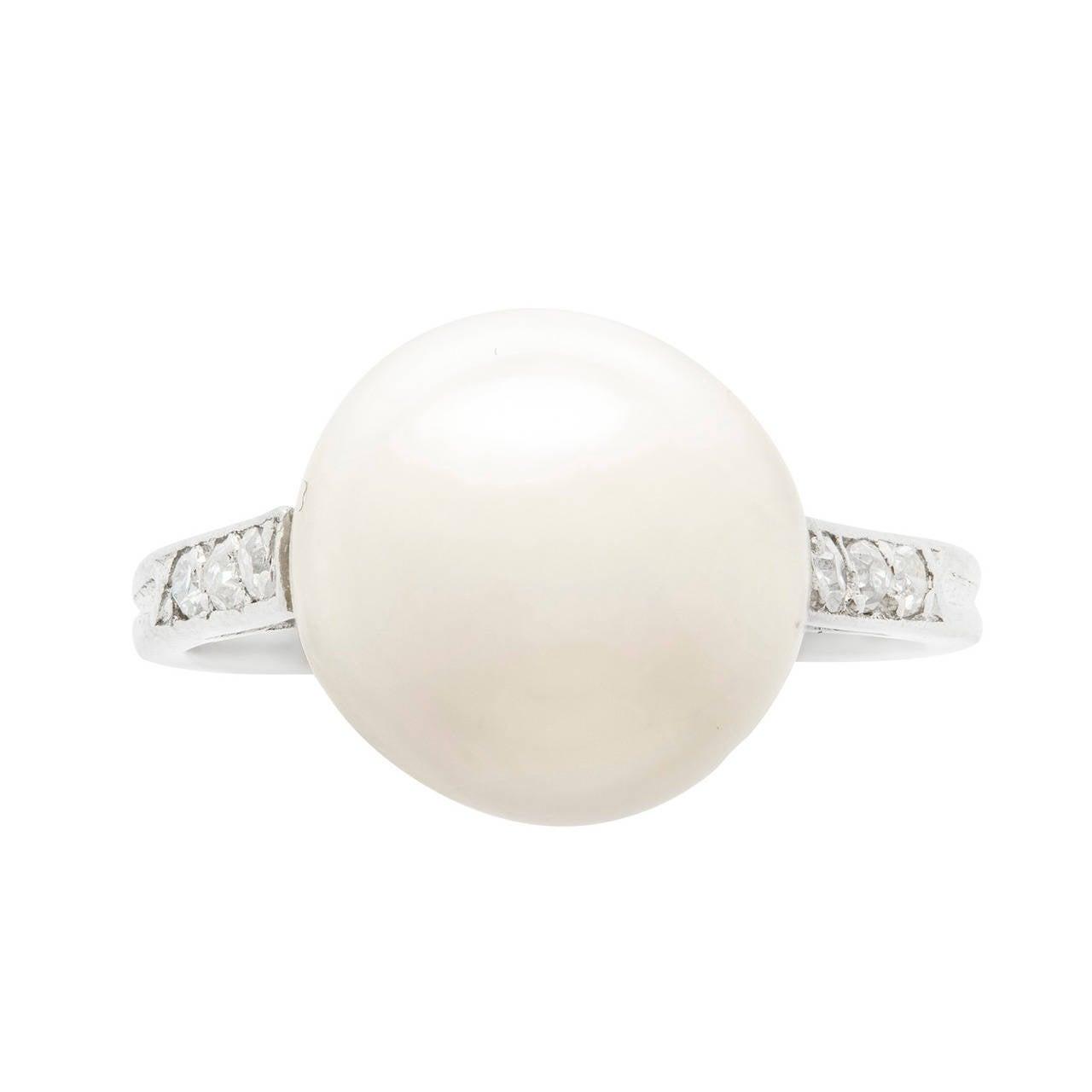 Natural Pearl Diamond Ring 1