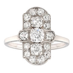 Art Deco Diamond Platinum Plaque Ring
