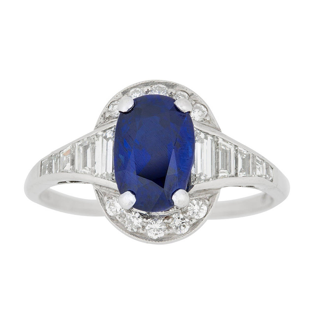 Art Deco Oval Sapphire Diamond Platinum Cluster Ring For Sale