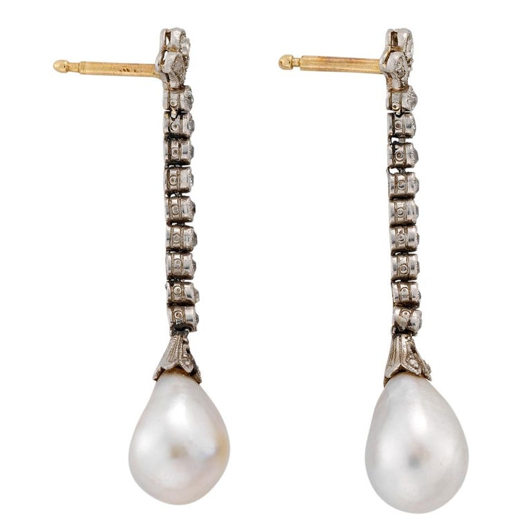 Edwardian Natural Pearl Diamond Platinum Drop Earrings In Excellent Condition For Sale In London, GB
