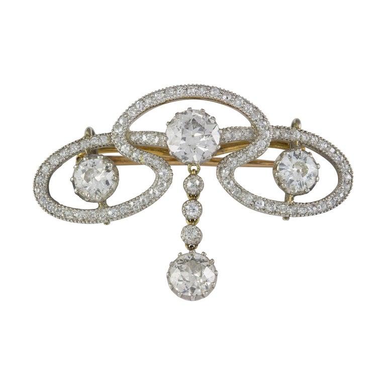 Women's Edwardian Diamond Scroll Brooch For Sale