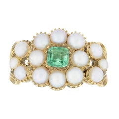 Museum Quality Regency Pearl Emerald Gold Cluster Ring