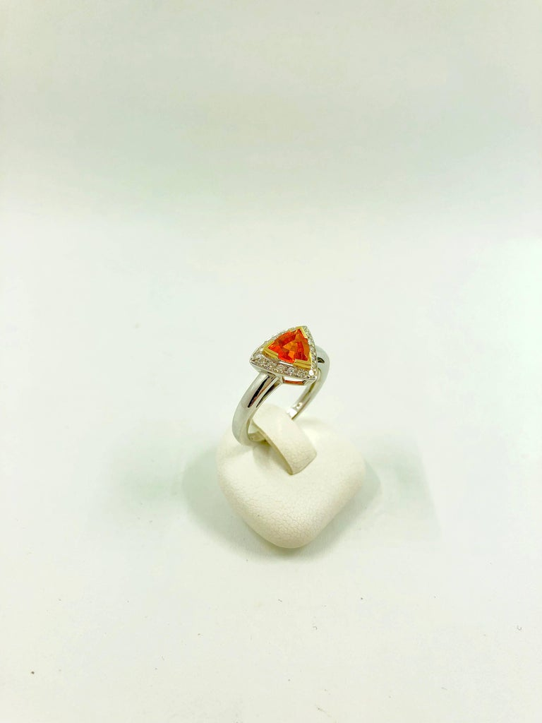 Trillion Cut Mandarin Garnet Diamonds Gold Ring For Sale