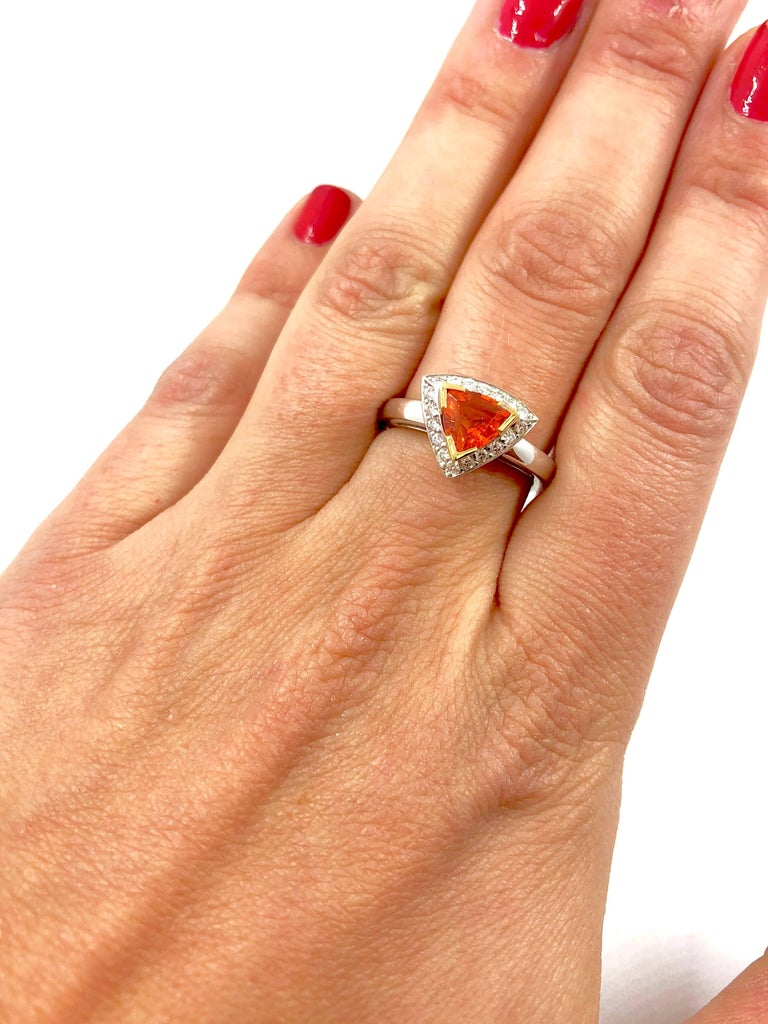 Women's Mandarin Garnet Diamonds Gold Ring For Sale