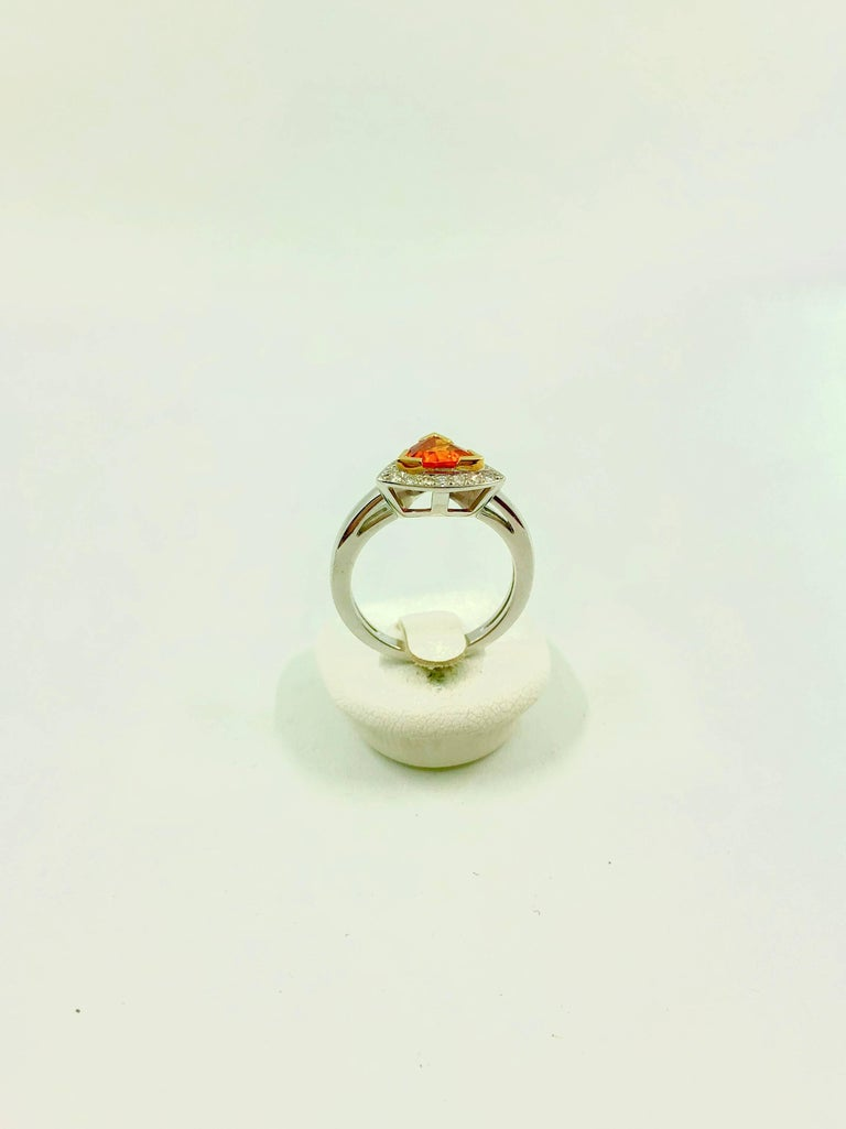 Mandarin Garnet Diamonds Gold Ring In New Condition For Sale In Colmar, FR
