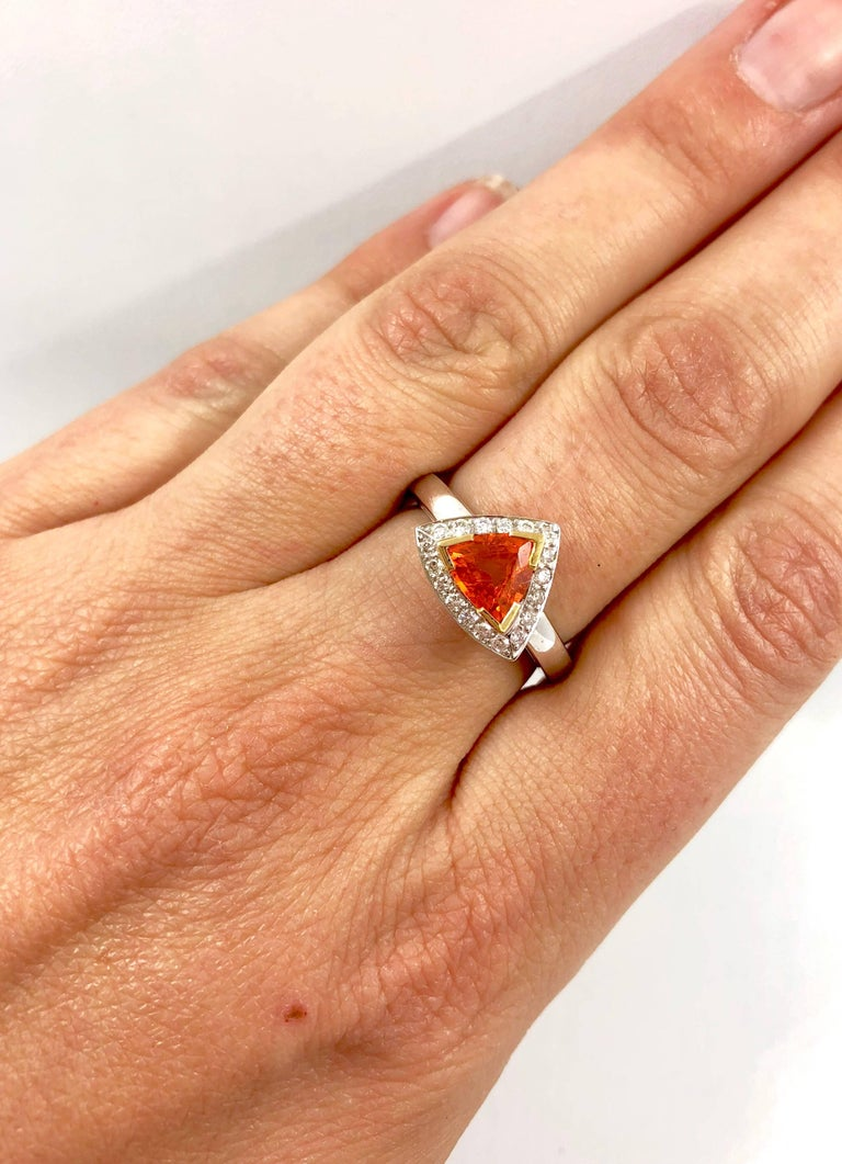 Mandarin Garnet Diamonds Gold Ring For Sale 1