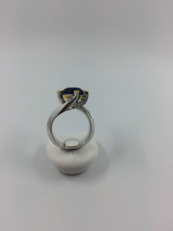 5.14 Carat Unheated Burma Royal Blue Sapphire Diamond Gold Ring For Sale 4
