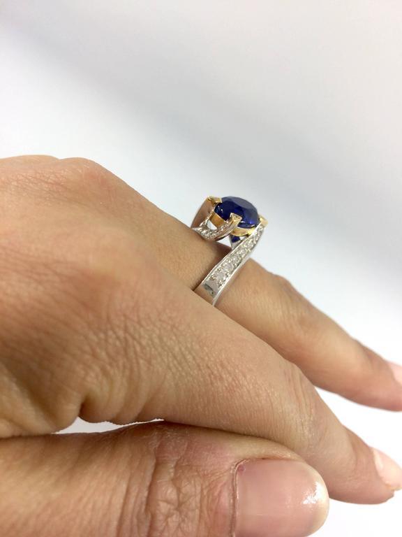 Contemporary 5.14 Carat Unheated Burma Royal Blue Sapphire Diamond Gold Ring For Sale