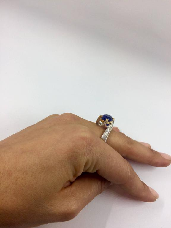 5.14 Carat Unheated Burma Royal Blue Sapphire Diamond Gold Ring For Sale 1