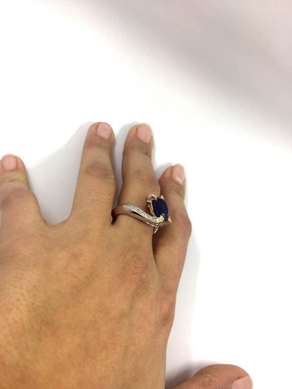 5.14 Carat Unheated Burma Royal Blue Sapphire Diamond Gold Ring For Sale 2