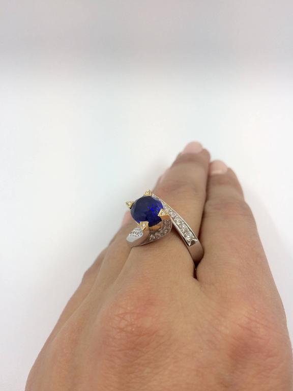 5.14 Carat Unheated Burma Royal Blue Sapphire Diamond Gold Ring For Sale 3
