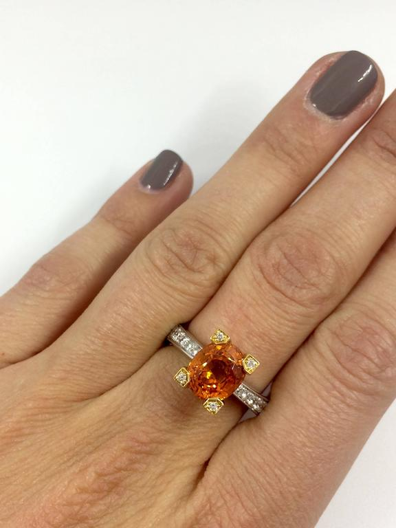 A white and yellow gold ring set in the middle with an orange garnet (spessartite) surrounded by 10 brilliants cut diamonds set on the body's ring.