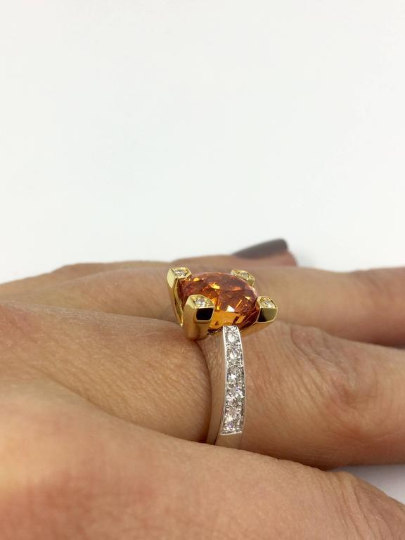 Modern Garnet Diamond Gold Ring For Sale