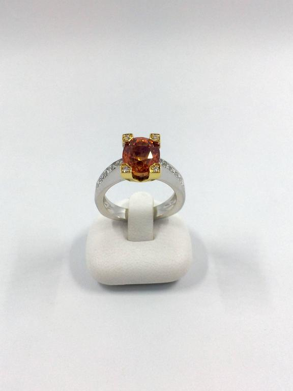 Garnet Diamond Gold Ring For Sale 2