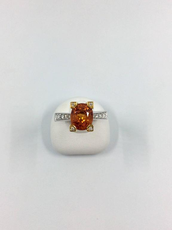 Garnet Diamond Gold Ring For Sale 5