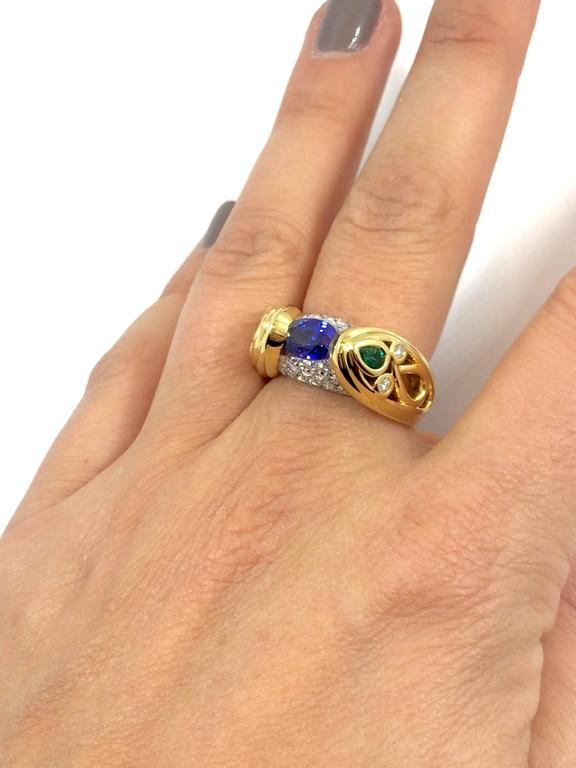 Sapphire Emerald Diamond Cocktail Gold Ring For Sale 1