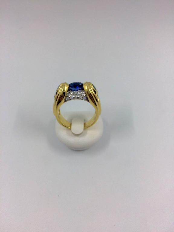 Sapphire Emerald Diamond Cocktail Gold Ring For Sale 4