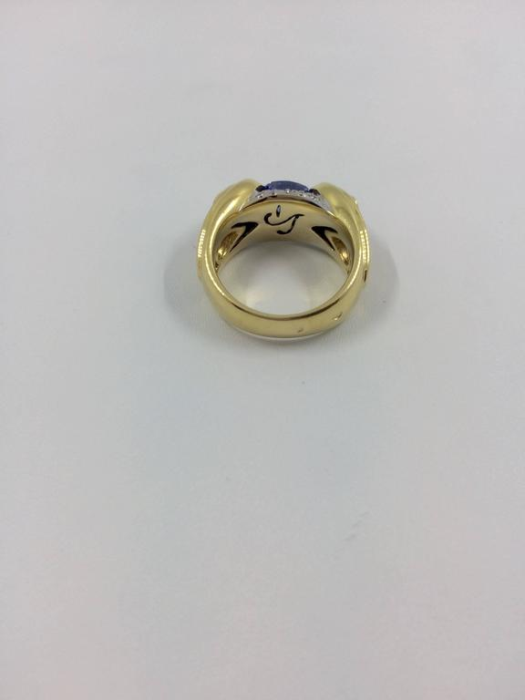 Sapphire Emerald Diamond Cocktail Gold Ring For Sale 5